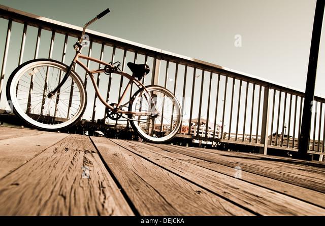 beach Cruiser bicycle shot taken in Sant Cruz USA - Stock-Bilder