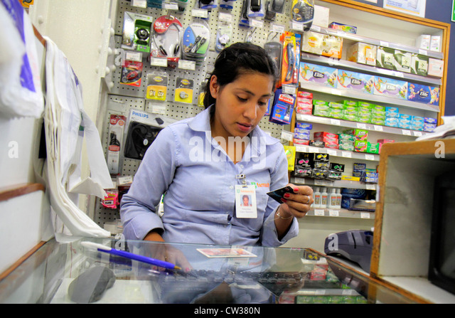 Buenos Aires Argentina Avenida de Mayo Farmacity chain drug store pharmacy retailer point-of-purchase merchandise - Stock Image