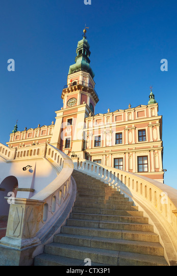 Zamosc, Town Hall, Unesco, Poland, Europe - Stock Image