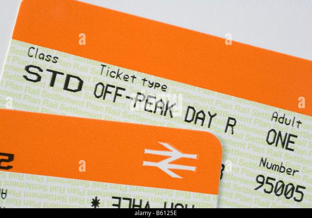 Britain UK British rail tickets for Standard off-peak travel cheap day return - Stock-Bilder