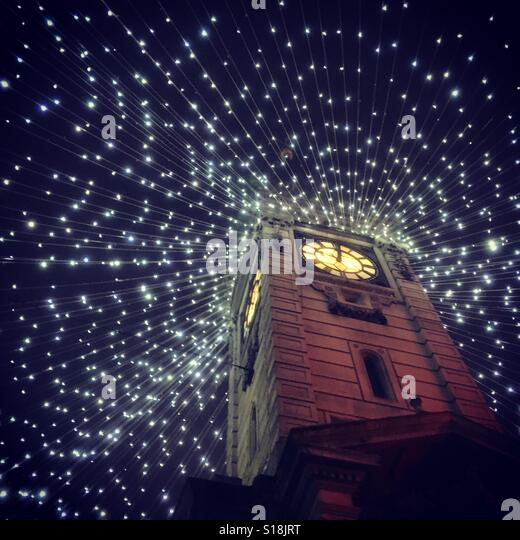 Clock tower with beautiful lights - Stock-Bilder