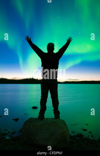 Aurora borealis (northern lights), boreal forest, Yellowknife environs, Northwest Territories, Canada - Stock-Bilder