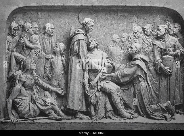 Relief shows Saint Francis, Saint Francis of Assisi, illustration published in 1880 - Stock Image