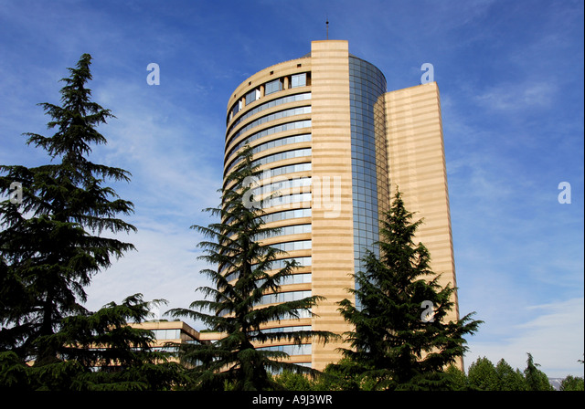 Santiago Chile Hyatt Regency Hotel trees - Stock Image