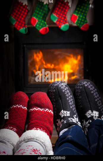 Two pairs of ornamented socks - Christmas family concept - Stock Image
