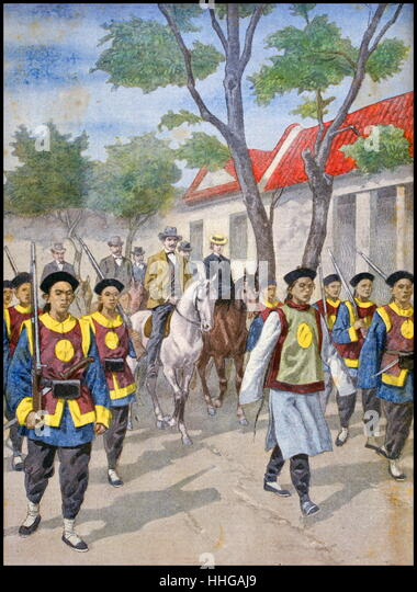 Boxer rebels guarding European diplomats; China 1900. the Boxer Uprising or Yihequan Movement. - Stock Image