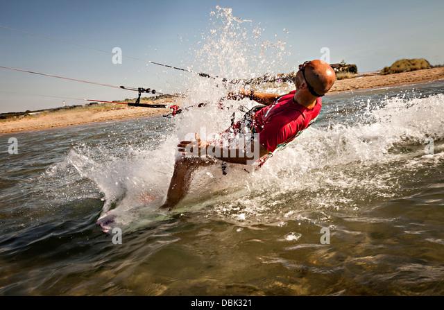 Croatia, Man kite surfing at high speed - Stock Image