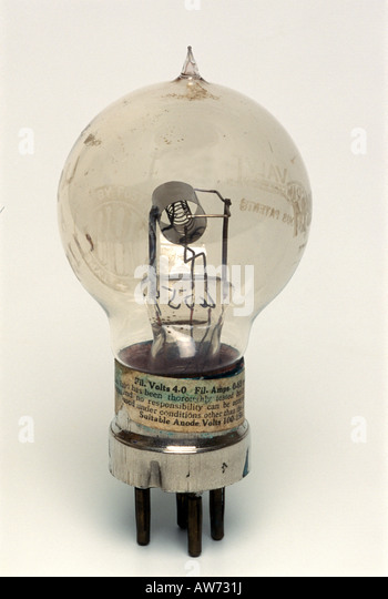An early diode valve vacuum tube - Stock Image