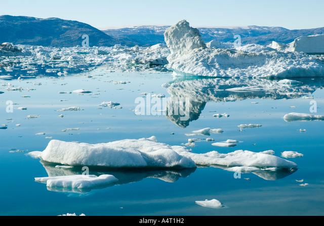 Icebergs on Sermilik Fjord, East Greenland - Stock Image