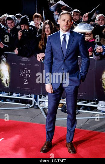 London, UK. 16th February 2017. Charlie Hunnam arrives at the UK Premiere of the Lost City of Z on 16/02/2017 at - Stock-Bilder
