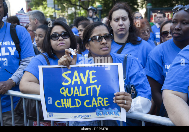 Unionized city workers from varied professions, FDNY, teachers, nurses etc rally at city hall for fair contracts - Stock Image