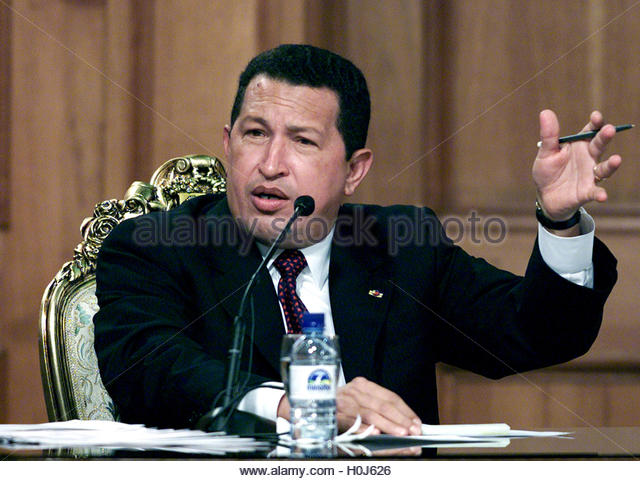 Venezuelan President Hugo Chavez speaks to a parliament inquiry regarding the April 11-14 coup in Caracas, May 31, - Stock Image