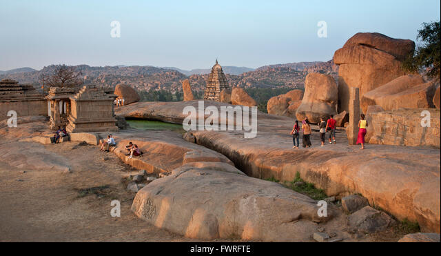 Rocks and temples. Hampi. Karnataka. India - Stock Image