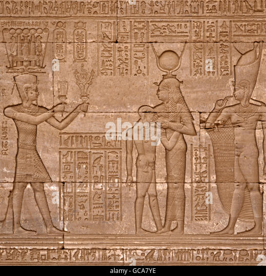 fine arts, ancient world, Egypt, relief No 4 at birthplace, scene with Hathor, suckling her sun Ihi, Dendera, - Stock Image
