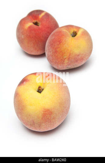 Peaches isolated on a white studio background - Stock Image