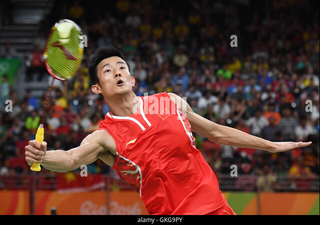 Rio De Janeiro, Brazil. 20th Aug, 2016. China's Chen Long competes during the men's singles gold medal match - Stock-Bilder