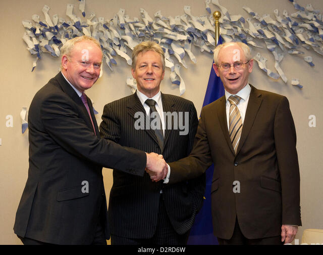 Deputy First Minister Martin McGuinness and First Minister Peter Robinson of the Northern Ireland Executive were - Stock Image