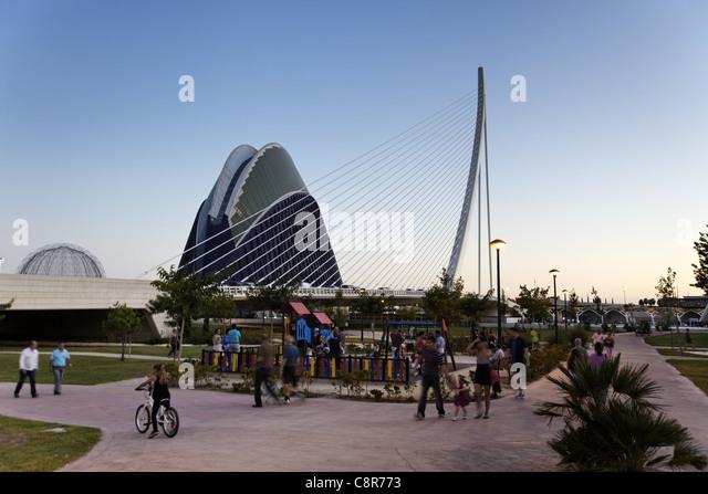 Park, Agora, Puente de l Assut, bridge, City of sciences, Calatrava, Valencia, Spain - Stock Image