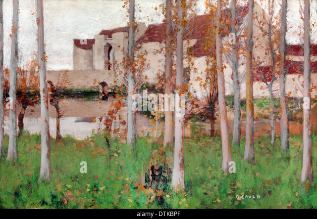 David Gauld, The Haunted Chateau, Grez-sur-Loing 1896 Oil on canvas. Yale Center for British Art, New Haven, USA. - Stock Image