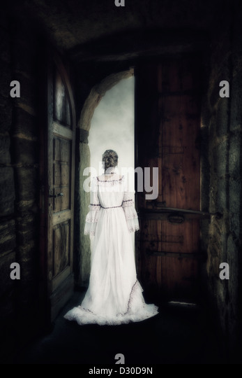 a woman in an elegant dress is standing in the gate of an old castle - Stock-Bilder