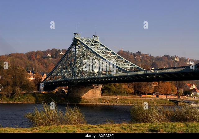 Dresden autumn Elbe bridge Blaues Wunder , blue wonder - Stock Image