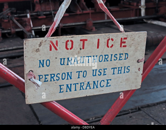 No Unauthorised Persons To Use This Entrance sign at Astley Green, Tyldesley,  Manchester, Lancashire, UK M29 7JB - Stock Image
