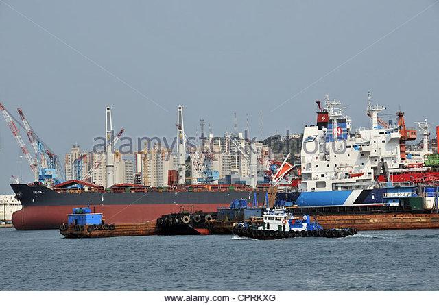 shipyard Busan South Korea - Stock Image