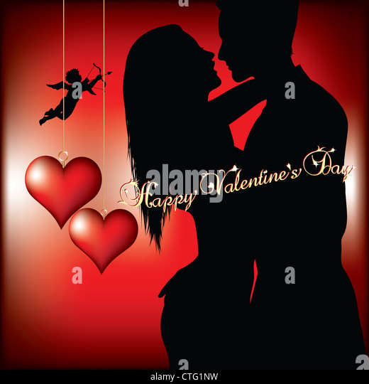 valentines day background with couple silhouette - Stock Image