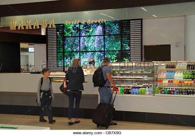 San Francisco California San Francisco International Airport SFO terminal concession Japanese restaurant fast food - Stock Image