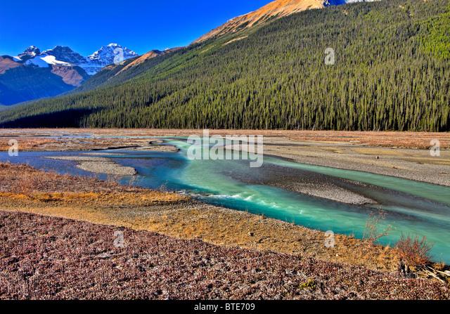 Athabasca River, Jasper National Park, Alberta, Canada - Stock Image