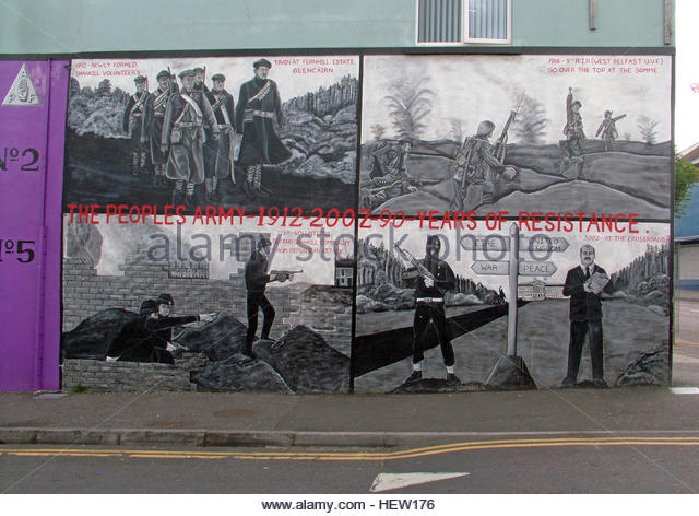 Shankill Road Mural -90 years of resistance, West Belfast, Northern Ireland, UK - Stock Image