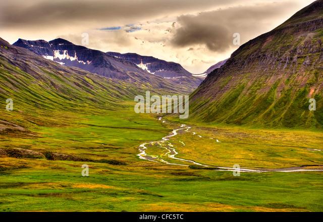 View from Lagheidi Pass, Trollaskagi Peninsula, Iceland - Stock Image