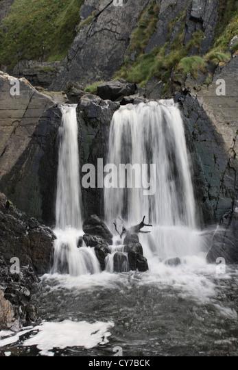 Spekes Mill Mouth waterfall near Hartland Quay North Devon - Stock-Bilder