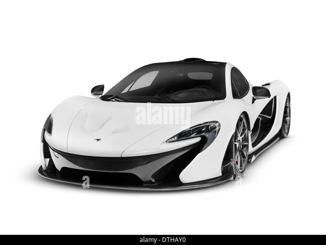 White 2014 McLaren P1 plug-in hybrid supercar isolated sports car on white background with clipping path - Stock Image