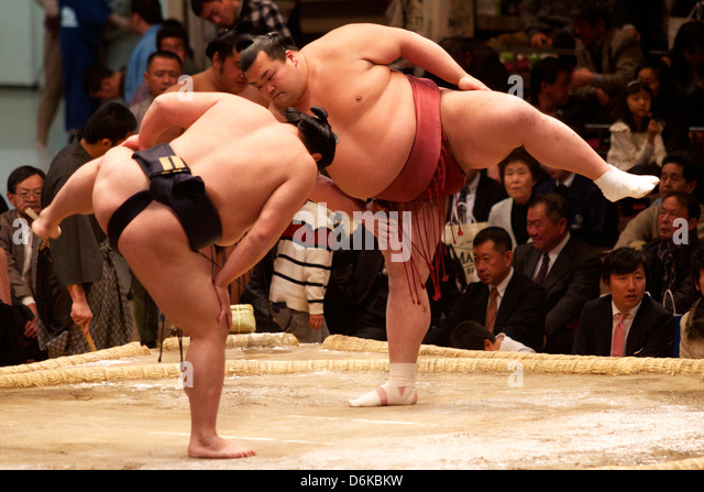 Sumo wrestling competition at the Kokugikan stadium, Tokyo, Japan, Asia - Stock Image