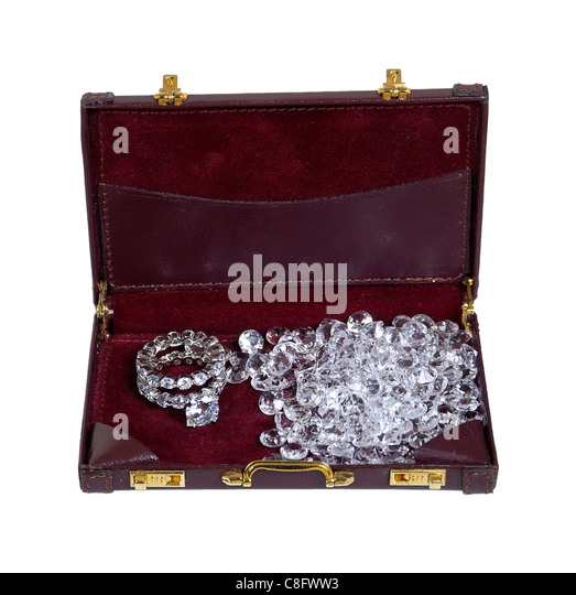 Diamond business shown by diamond engagement ring with loose diamonds in a briefcase - path included - Stock Image