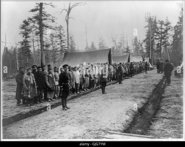 Convict railroad workers, Ussuri region, Siberia - Stock-Bilder