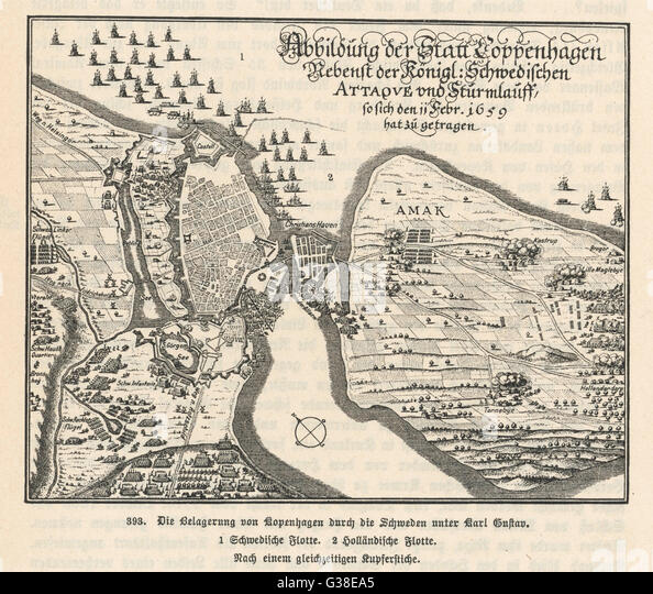 Map of the siege of  Copenhagen, Denmark by Carl X  Gustav of Sweden.        Date: 11 February 1659 - Stock Image