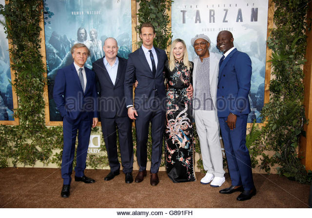 Director David Yates (2nd L) poses with (L-R) cast members Christoph Waltz, Alexander Skarsgard, Margot Robbie, - Stock Image