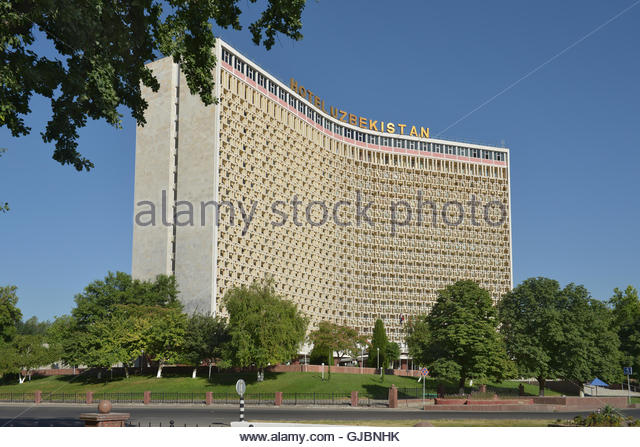 Hotel 'Uzbekistan' (1974) - the legendary hotel which receives guests for many decades. - Stock Image