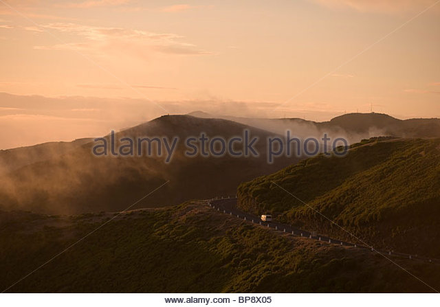 Mountain road sunset, near Rabacal, Paul da Serra Plateau, Madeira, Portugal - Stock Image