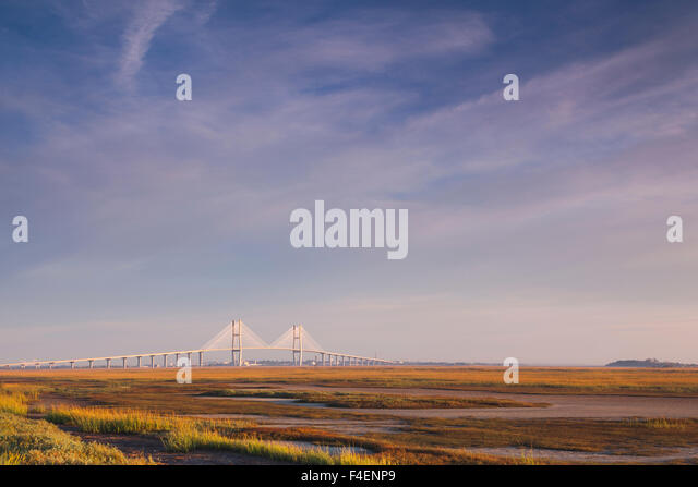 Georgia, Brunswick, Sidney Lanier Bridge, across the Brunswick River, dawn - Stock Image