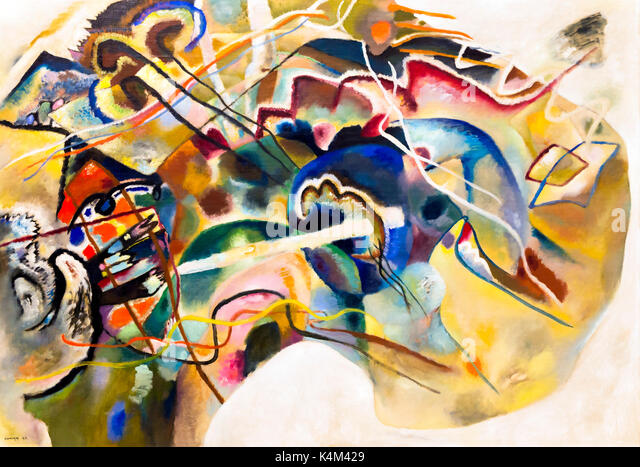 Painting with White Border, by Vasily Kandinsky, 1913, Solomon R. Guggenheim Museum, Manhattan, New York City, USA, - Stock Image