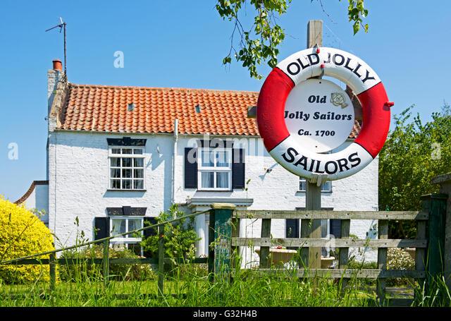 House - once the Jolly Sailor pub - at Fishtoft, near Boston, Lincolnshire, England UK - Stock Image