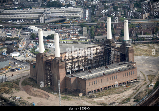 Aerial view south east of Battersea Power Station disused railway lines New Covent Garden Fruit and Vegetable Market - Stock Image
