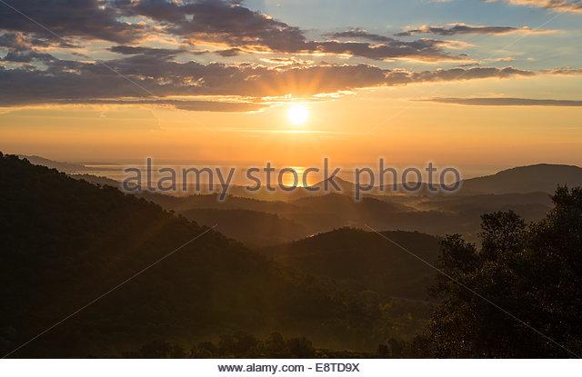 sunrise on the cote du azur - Stock Image