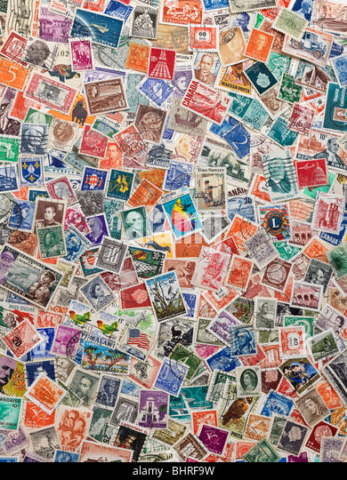 international postage stamps of the world, still life collection - Stock Image