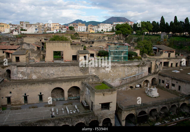 Italy, Herculaneum. City covered with ash when Mt. Vesuvius erupted in 79 A.D. where it stayed buried for more than - Stock-Bilder