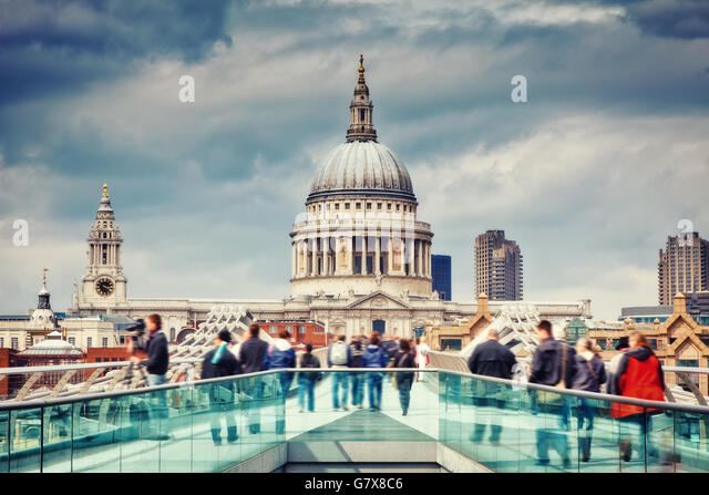 Millennium bridge and st. Paul cathedral in London - Stock Image