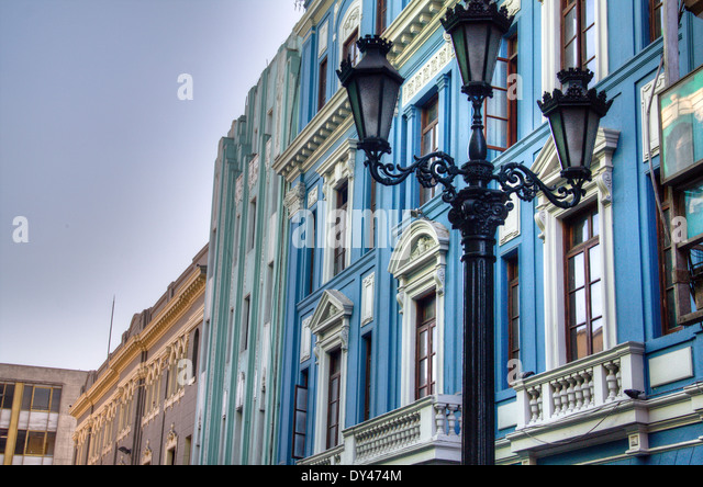 Facades in the city of Lima, Peru - Stock Image